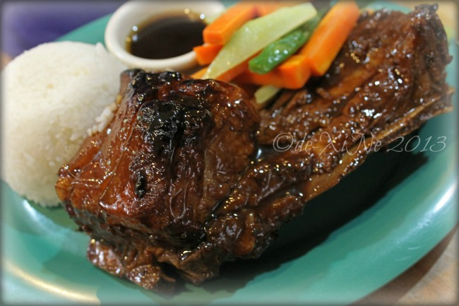 Beggang Resto Grill combo meal D, pork spare ribs in barbeque sauce served with buttered veggies and rice