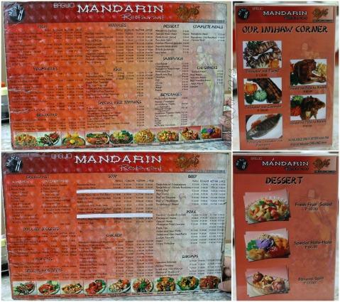 Mandarin Restaurant menu