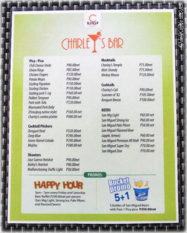 Charley's Bar menu at C Boutique Hotel