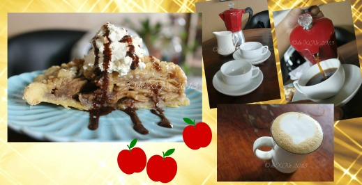 Cakes by Yda Baguio, apple pie, moka pot and spiced cafe latte