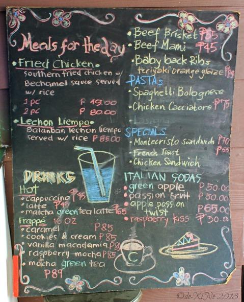FoodVille Baguio menu