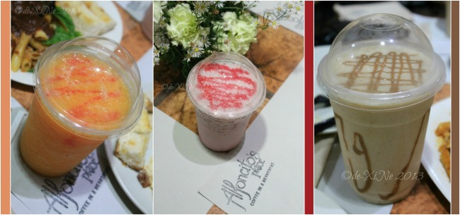 Alfoncito's Place Baguio smoothies tropical twister, strawberry creme, banana split deluxe