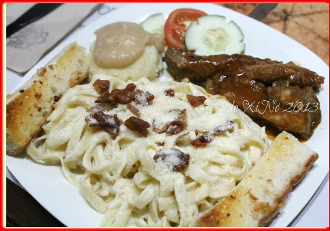 Alfoncito's Place Baguio pasta Alfredo with bbq spareribs and mashed potato