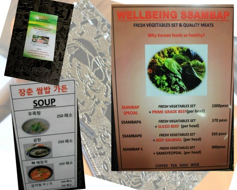 Wellbeing Ssampbap Korean Restaurant Baguio menu
