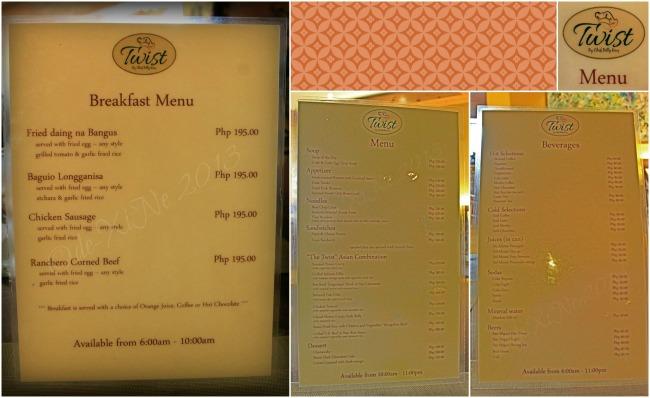 Twist at Forest Lodge menu