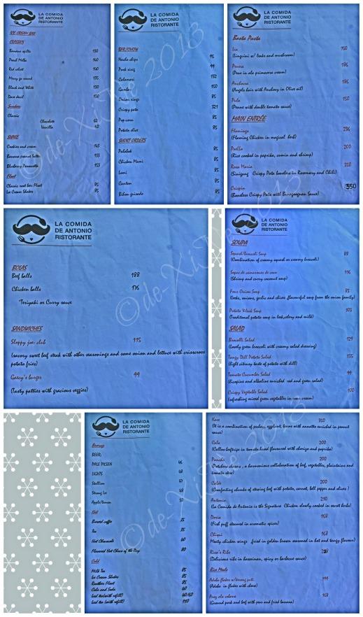 La Comida de Antonio Ristorante Baguio menu