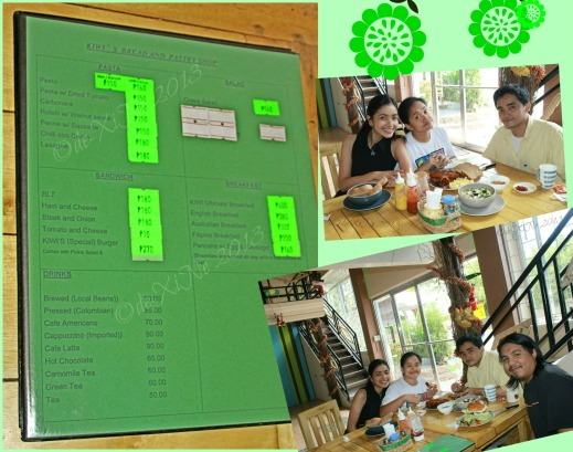 Kiwi's Bread and Pastry Shop Baguio menu and us dining Kiwi's style