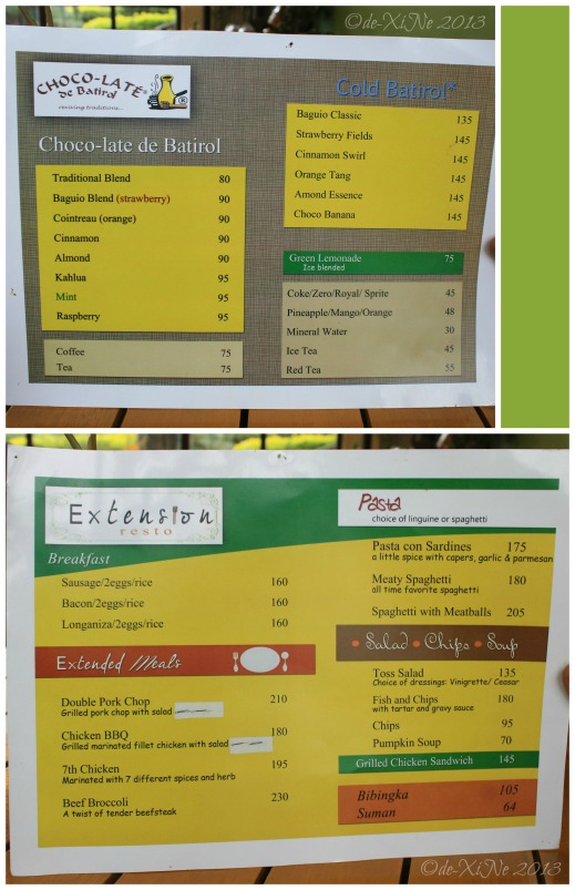 Extension Restaurant by Choco-late de Batirol Baguio menu