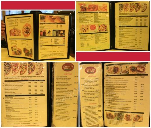 Carlos Pizza Baguio menu