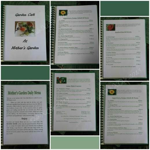 Mother's Garden Baguio menu