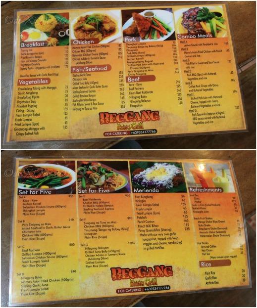 Beggang Resto Grill Baguio menu