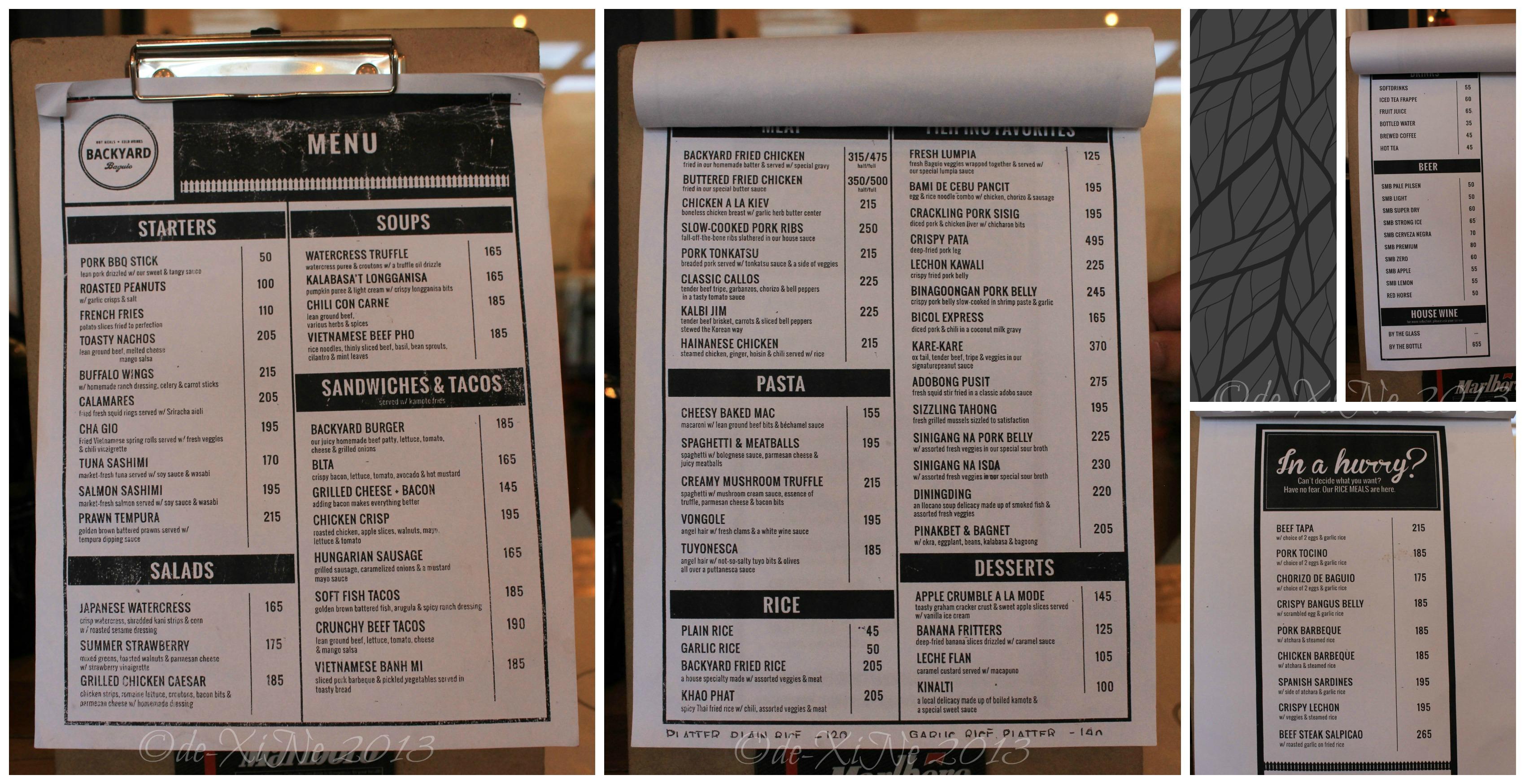 baguio dining a la carte menus menus menus x marks the spot