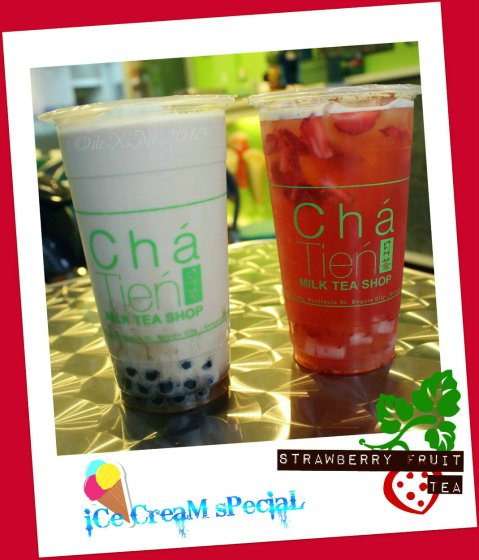 Cha Tien Milk Tea Shop Baguio ice cream special and strawberry fruit teas
