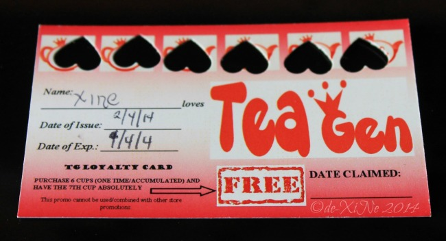 Tea Generation Baguio loyalty card