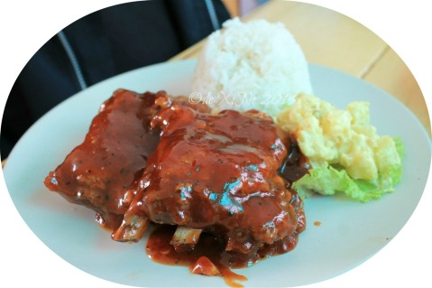 Grumpy Joe Baguio  rice meal pork ribs with rice and salad