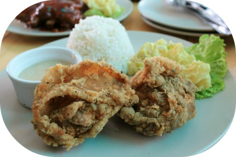 Grumpy Joe Baguio house fried chicken with rice and potato salad