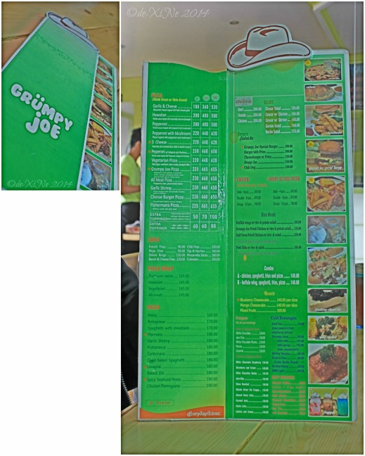 Grumpy Joe Baguio menu