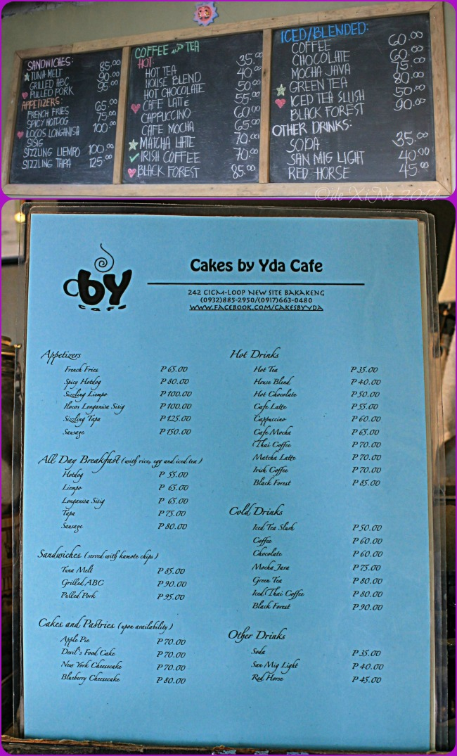 Cakes by Yda Baguio menu 2014