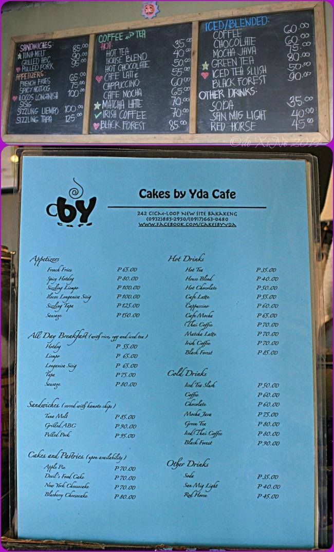 Cakes by Yda Baguio menu 2014