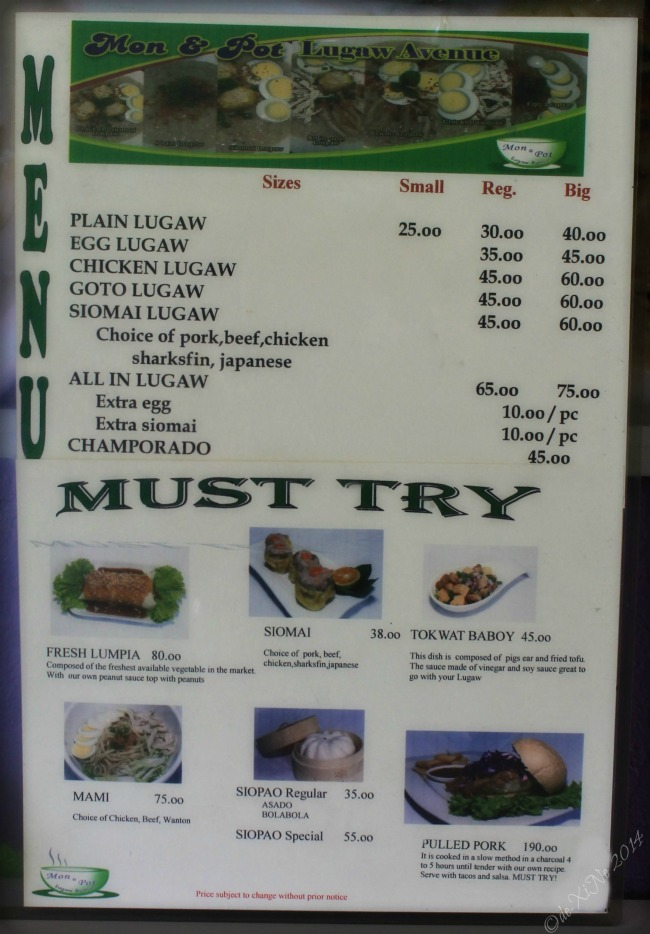 Mon & Pot Lugaw Avenue Baguio menu 2014