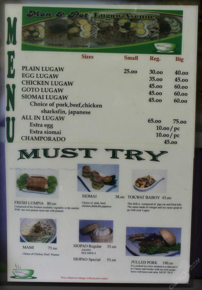Mon & Pot Lugaw Avenue Baguio menu 2014