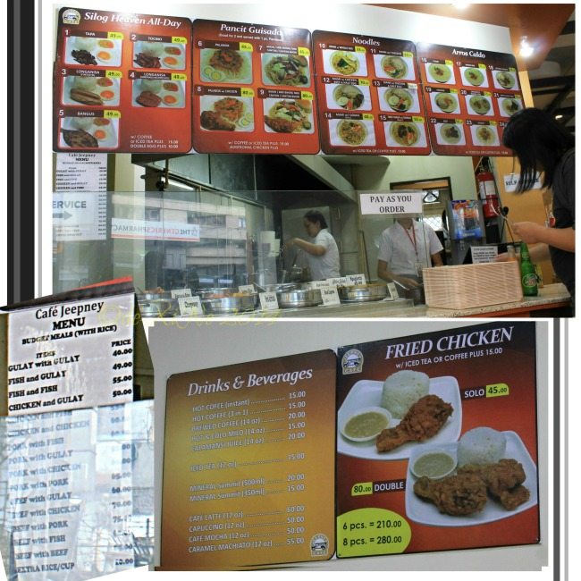 Cafe Jeepney Baguio menu 2014
