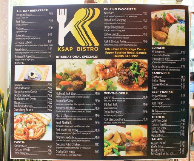 KSAP Bistro Baguio menu 2014