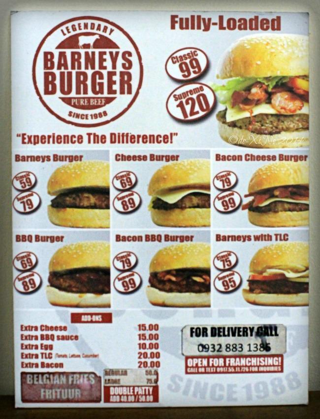 Barney's Burger Baguio menu 2014