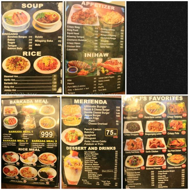 Jay Jay's Inasal Baguio menu 2014