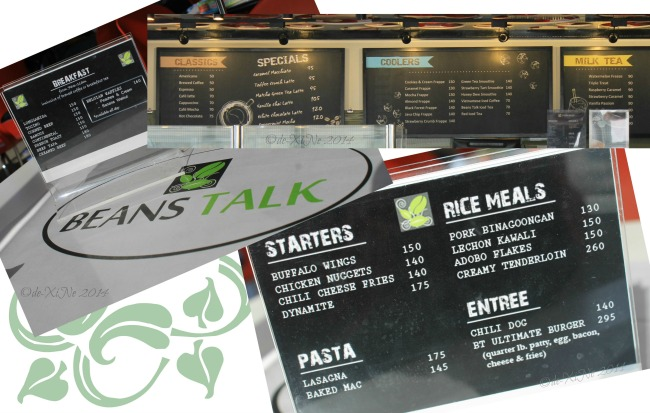 Beans Talk Baguio menu 2014