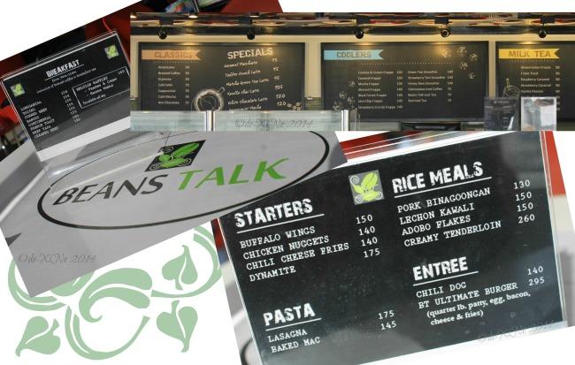 Beans Talk Baguio menu 2014