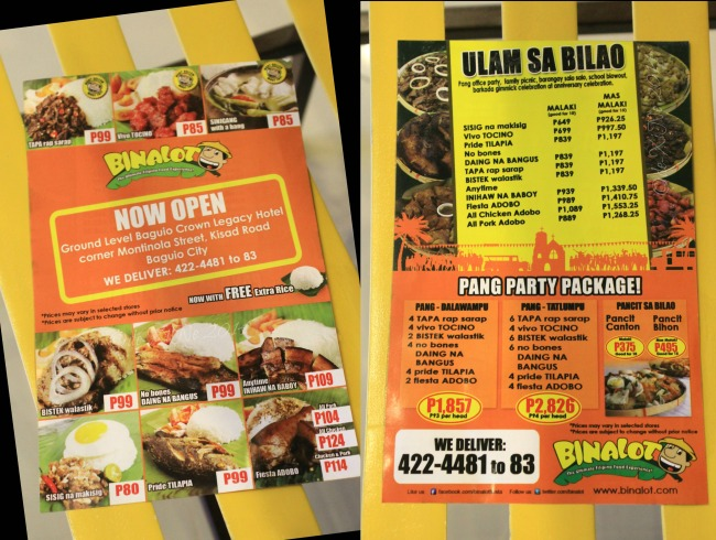 Binalot Baguio 2014 flyer menu