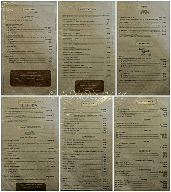 Inglay Restaurant La Trinidad menu