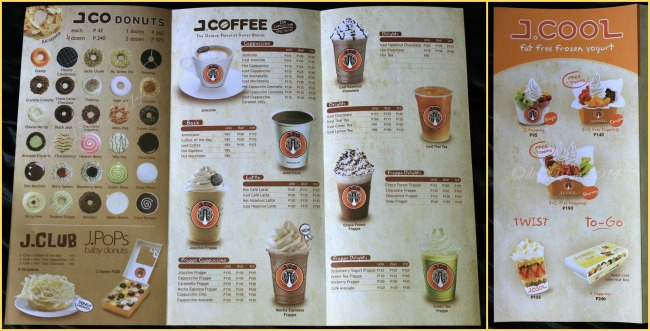 J.Co Donuts & Coffee Baguio menu