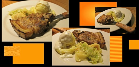 Ozark Diner Baguio thick pork chop with mashed potato and salad 2014