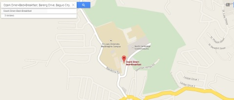 Location of Ozark Diner Baguio by Google Maps