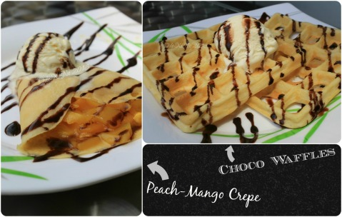 Latreia Baguio peach mango crepe and choco waffles a la mode
