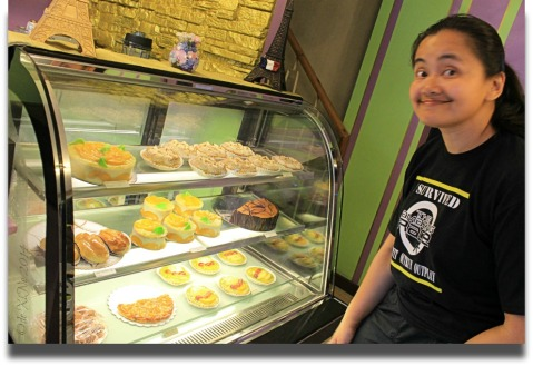 My bread monger sister in L'Ami Frenchy Baguio 2014
