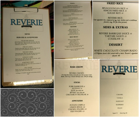 Reverie Resto-Lounge Baguio menu 2014
