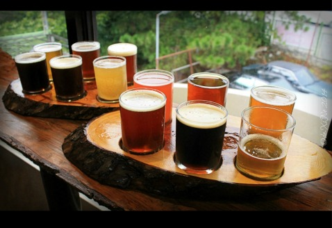 Baguio Craft Brewery 2014 tasting trays of beers