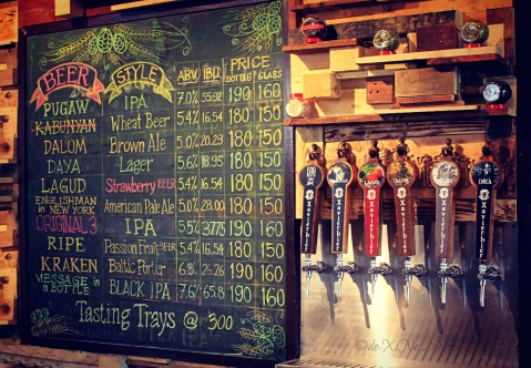 Baguio Craft Brewery 2014 beer menu