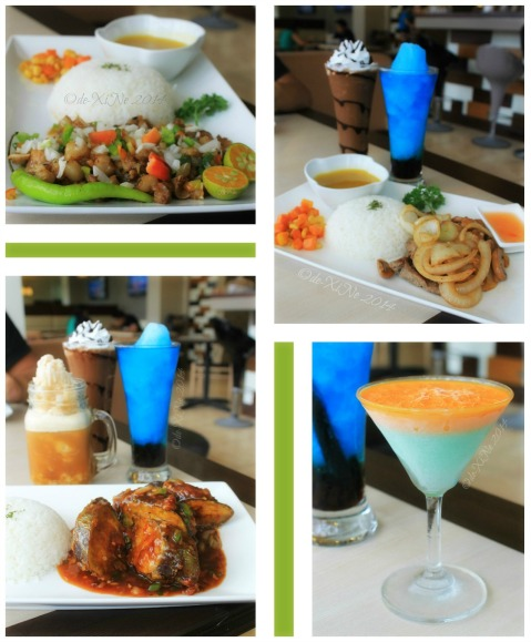 FOTD Food of the Day Baguio pork sisig, grilled beef with button mushrooms, stuffed mushroom , panna cotta, iced tea slush, bubble gum frappe, mocha frappe