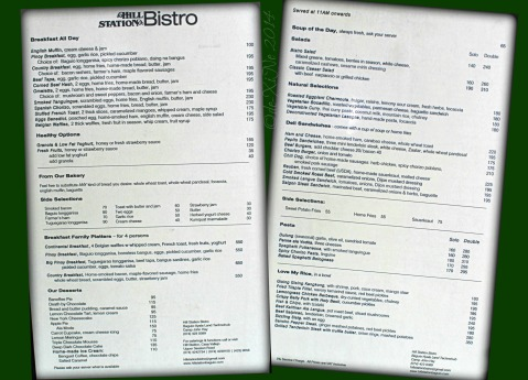 Hill Station Bistro Baguio menu