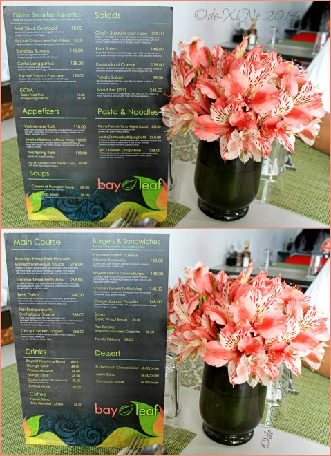 Bay Leaf Restaurant Baguio menu