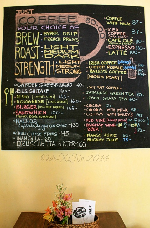 Cafe Yagam Baguio menu