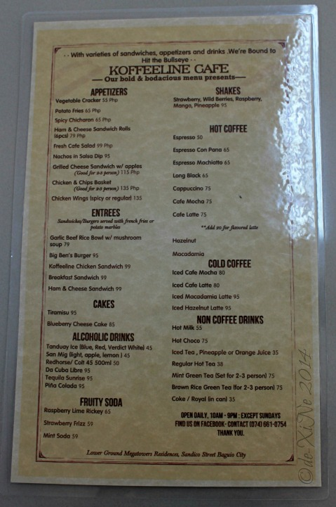 2014-09-11 Koffeeline Coffeeshop at MegaTower Residences Baguio menu