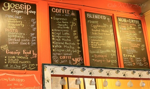 Gossip Coffee Shop Baguio menu