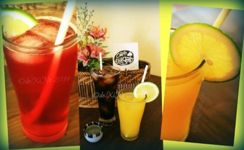 Cafe Yagam Baguio bugnay juice, dark roast iced coffee, mango juice