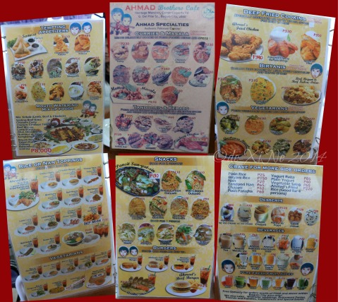 Baguio Ahmad Brothers menu