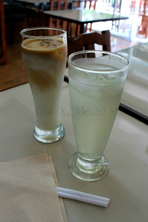 Baguio Koffeeline at Megatower Residences iced macadamia latte and mint soda